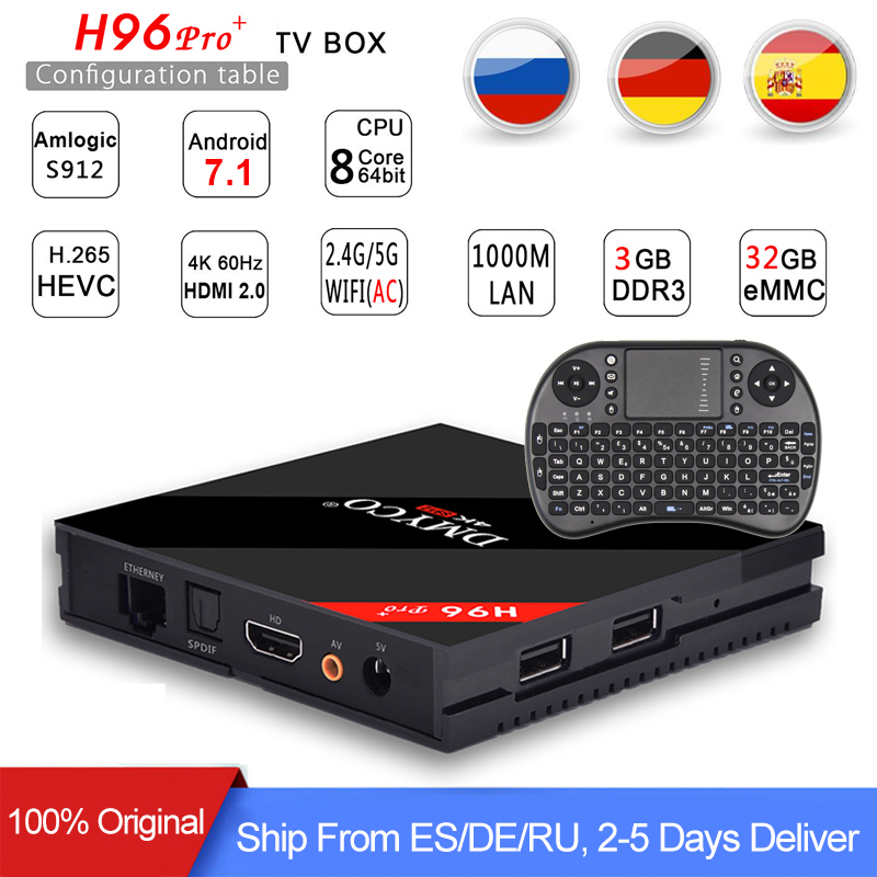 [Véritable] h96 pro plus 3g 32g Smart TV Box Android 7.1 Amlogic S912 OCTA Core Wifi 4 k H.265 h96 media player h96pro set top box