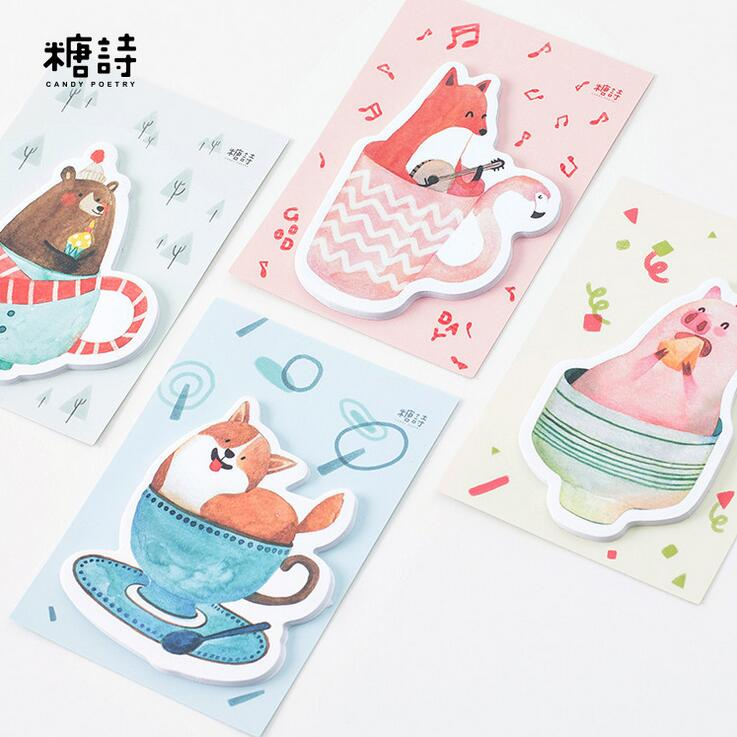Creative Cartoon Animal In The Cup Memo Pad Sticky Notes Bookmark School Office Supply