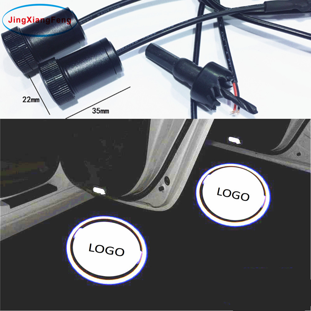 JingXiangFeng 2PCs LED For Honda Car door welcome light Led Logo Light courtesy led car laser projector Logo For Mitsubishi