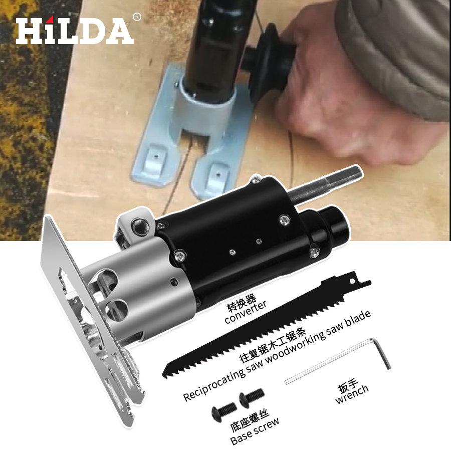 Image 5 - Hilda Reciprocating Saw Power Tool Reciprocating Saw Metal Cutting Wood Cutting Tool Electric Drill Attachment With BladesElectric Saws   -