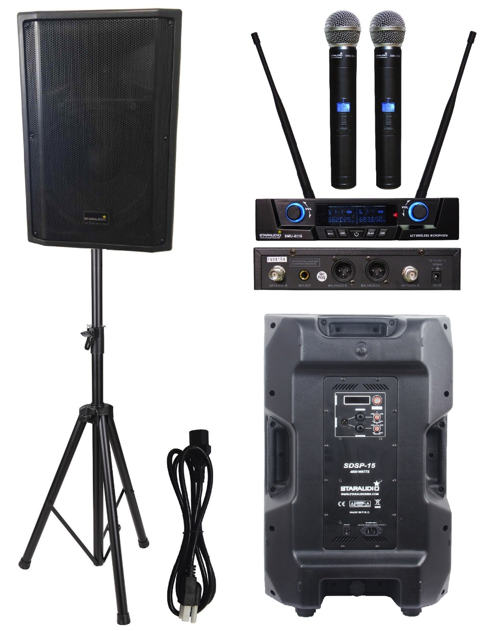 STARAUDIO Pro 4500W 15 Powered Active Stage PA DJ Karaoke DSP Speaker with Stand 2CH Wir ...