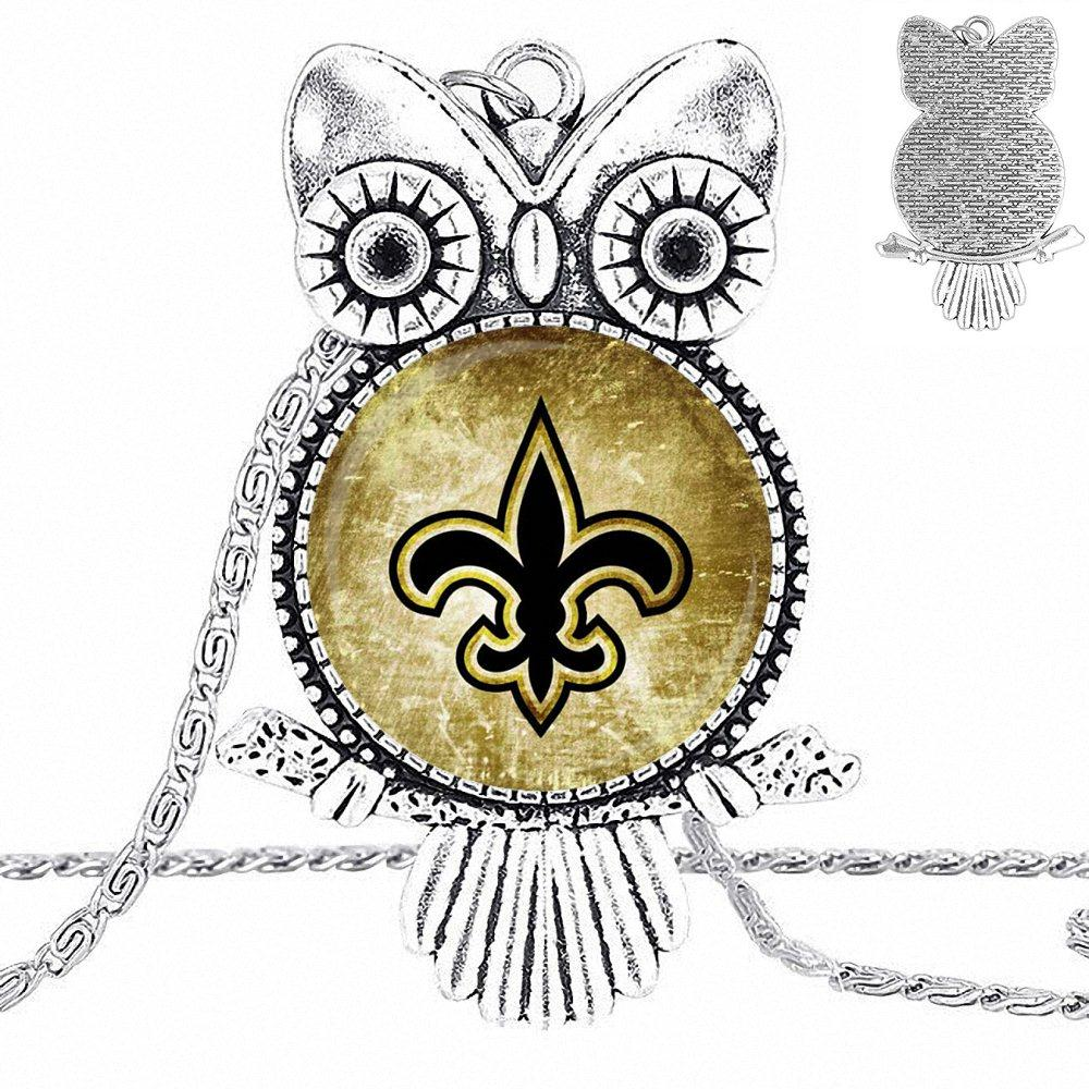 EJ Glaze Symbol of New Orleans For Women Girls Handmade Jewelry Plated Glass Cabochon Choker Long Pendant Owl Necklace image