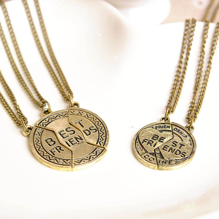 2015 New Vintage Best Friends Puzzle Pendant Necklace Set, BFF 3Pcs/Fashion Jewelry Gift Set - IBEST ACCESSORIES STORE store