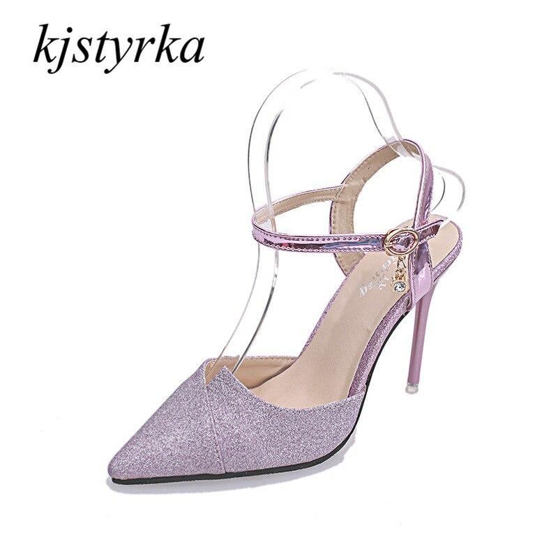 Kjstyrka 2018 Women Pumps Bling High Heels Women Pumps Glitter Shoes Woman Sexy office ladies Sandals violet Silver цены онлайн
