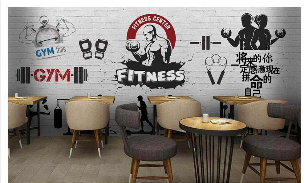 Custom Photo Wallpaper 3d Gym Mural Wallpaper Hd Fashion Simple Minimalist Gym Background Wall Living Room Painting Decoration