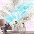 Пользовательские 3D Настенные обои скандинавские простые абстрактные акварельные эстетические перья гостиная спальня ТВ фон фото обои