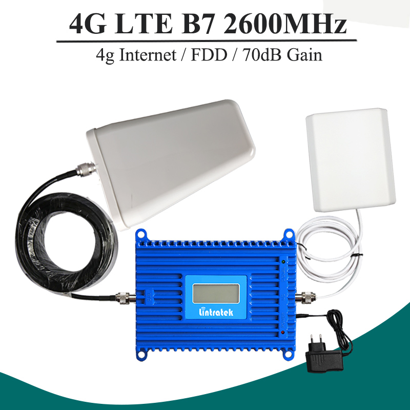 Lintratek 4G Band 7 2600mhz Ceilphone Signal Booster 70dB High Gain Repeater AGC Function Mobile LTE Signal Amplifier Set S5+1