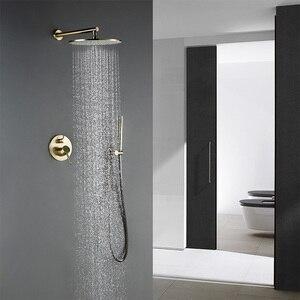 Image 2 - 8/10/12 インチ真鍮シャワーセット浴室丸頭蛇口高級ゴールド HandShower ダイバーミキサーゴールデンハンドヘルドスプレーセット