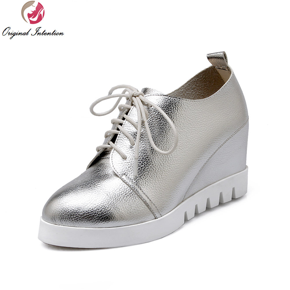 Original Intention Women Ankle Boots Stylish Lace Up Round Toe Wedges Boot Black White Silver Concise Shoes Woman US Size 3-10.5