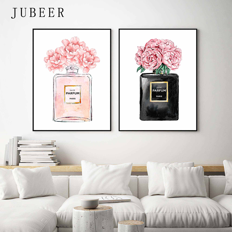 HTB179g5aUzrK1RjSspmq6AOdFXaY Perfume Bottle Wall Art Perfume Posters and Prints Beauty Begins Quote Print Watercolor Flower Pictures Bedroom Decoration