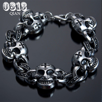 Fashion Mens Jewelry Clasp Casting Stainless Steel Skull Cross Bracelet Wholesale MB