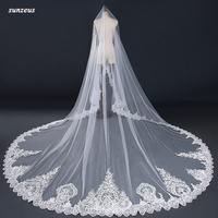 Bridal Long Veil 2018 Luxury Lace Edge Wedding Veils With Appliques Big Tail Cathedral Veil 4m Ivory voile long de mariee WV044
