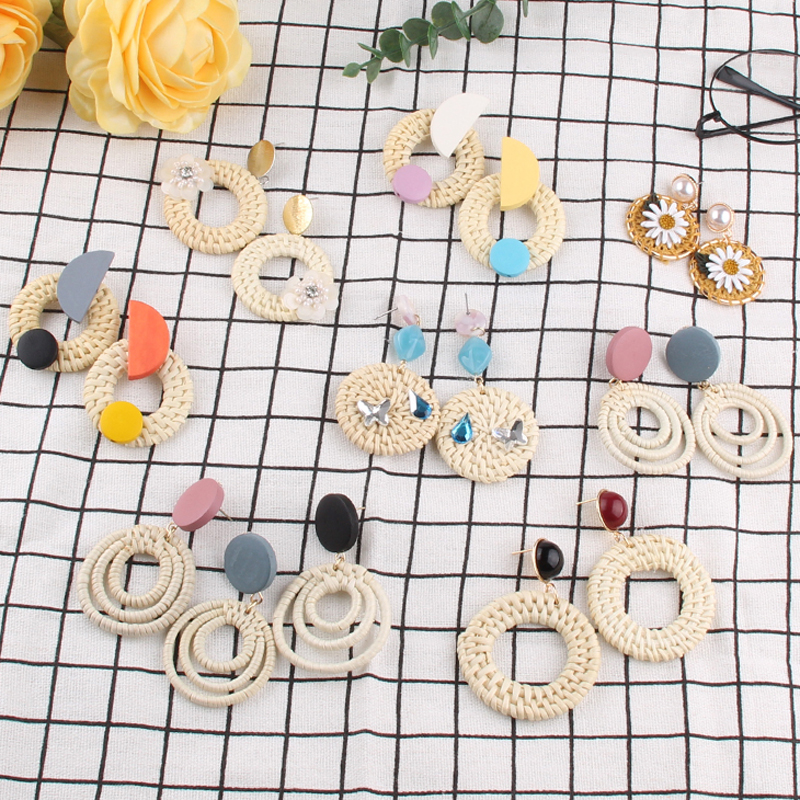 Furniture New Style Handmade Acrylic Acetic Acid Geometry Stone Wooden Big Round Circle Rattan Straw Weave Drop Earrings For Women Buy Now