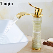 Золотой смеситель для ванной комнаты горячий и холодный кран латунь и нефрит высокий водопроводный кран раковина кран с одной ручкой водопроводный кран