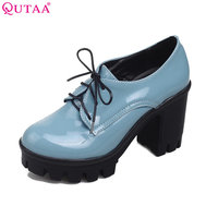 VINLLE 2015 Women Oxfords High Heel Shoes Fashion Lace Up Casual Lady Shoes Women British Retro