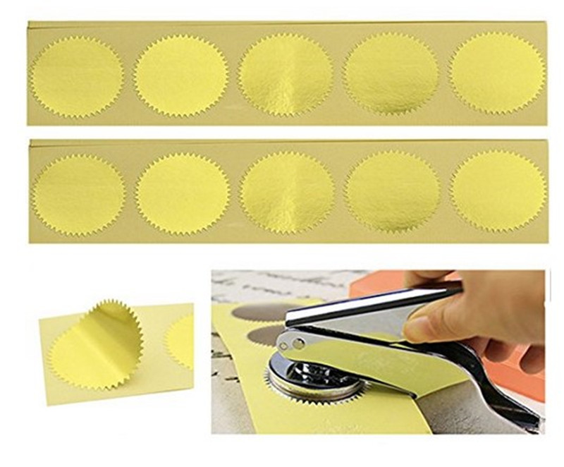 100pcs Gold Vintage Embosser Stamp Sealing Blank Certificate Self-Adhesive Stickers (Gold)