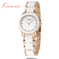 KIMIO Hot Sales Famous Brand Women S Watches Imitation Ceramic Bracelet Stainless Steel Watches Women 2016