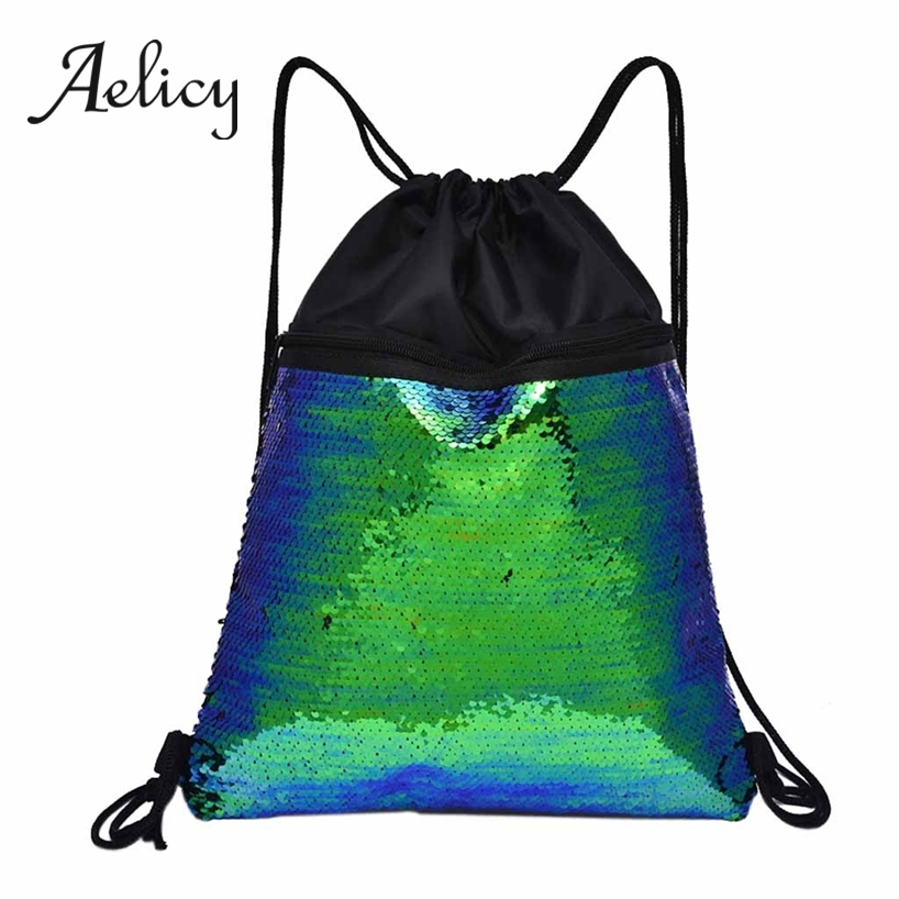 Aelicy Bling Bling Drawstring Backpack Women Fashion Shining Outdoor Travel Sequins Bunch Pocket Unisex Men Fitness Sports BagAelicy Bling Bling Drawstring Backpack Women Fashion Shining Outdoor Travel Sequins Bunch Pocket Unisex Men Fitness Sports Bag