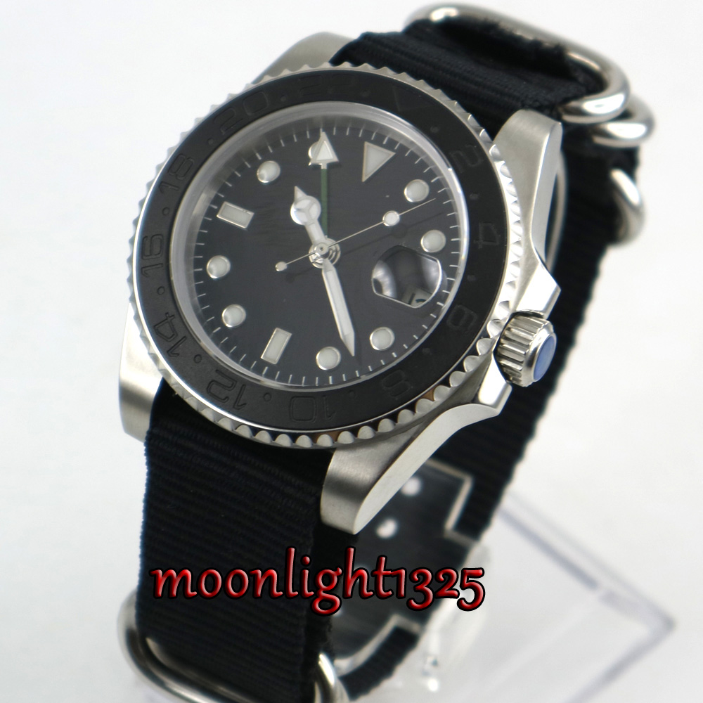 лучшая цена 40mm parnis Black sterile dial sapphire glass Nylon strap ceramic bezel GMT date automatic mens watch
