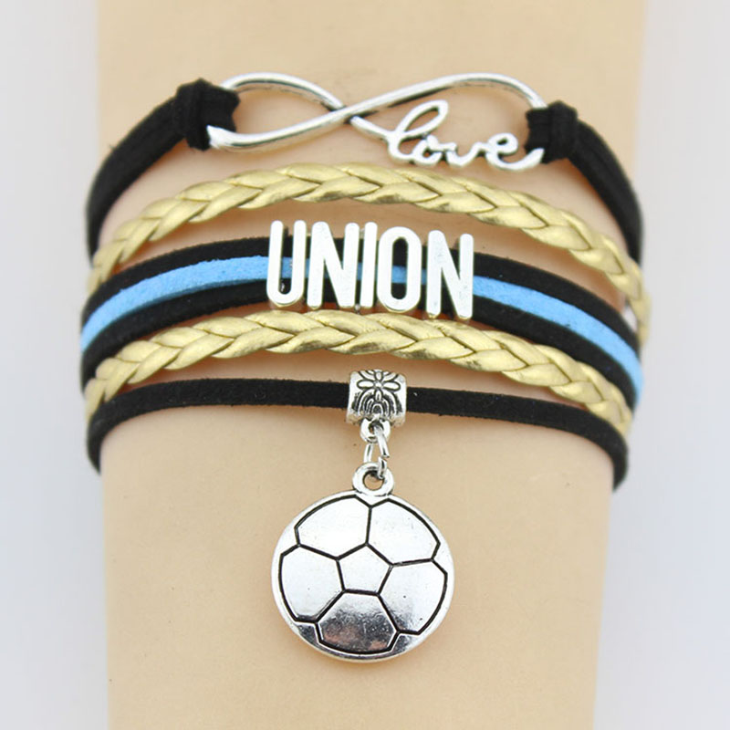 10 Pieces Lot Infinity Love Union Bracelets Soccer Charm Handmade Rope Leather Weave Bangles For Women Men Jewelry Custom In Chain Link From