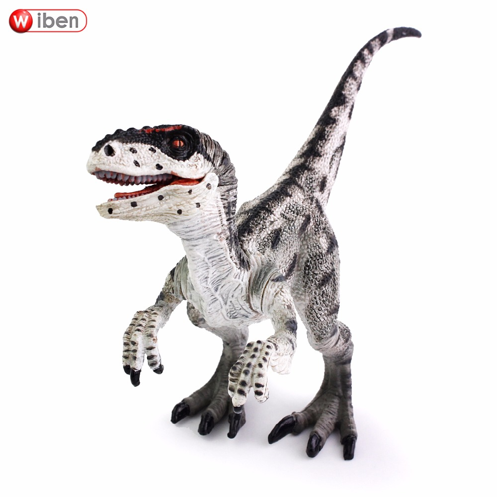 Wiben Jurassic Velociraptor Dinosaur Action & Toy Figures Animal Model Collection Learning & Educational Kids Birthday Boy Gift wiben 3pcs jurassic triceratops tyrannosaurus rex parasaurolophus cub model dinosaur toys action toy figures collection gift