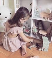 Everweekend 아이 여자 새로운 여름 공주 핑크 컬러 서스펜더 플라이 슬리브 드레스 자수 달콤한 등이없는 아기 드레