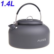 Alocs 1.4L Outdoor Kettle Tea Pot Coffee Pot Kettle Portable Camping Hiking Cookware Aluminum Alloy Picnic Water Teapot цена