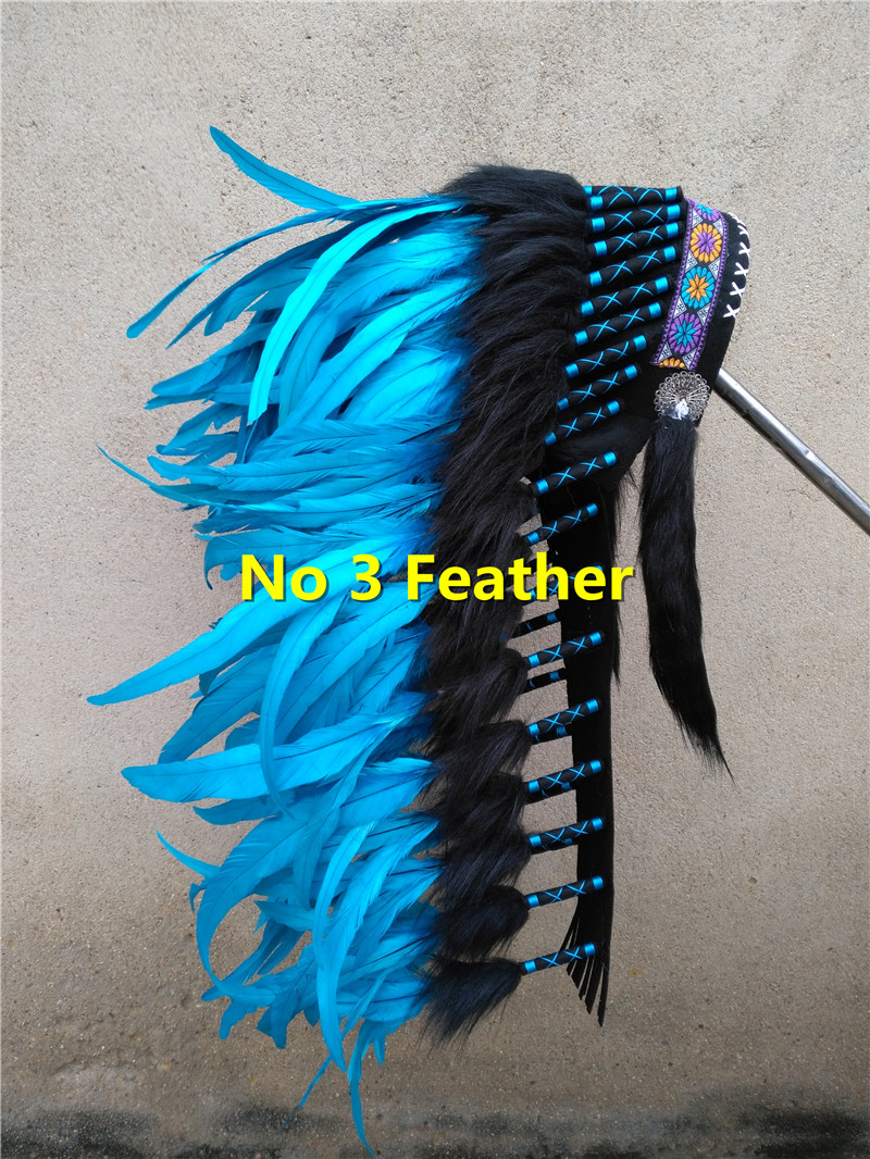 28inch turquoise feather Headdress headpiece handmade headdress for halloween party decor