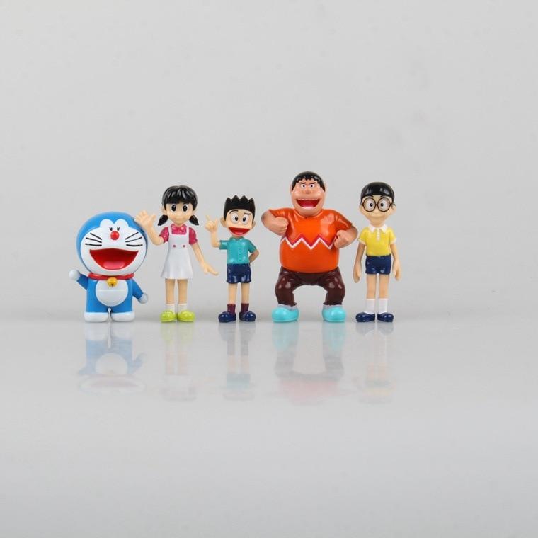 5pcs/set Anime Cartoon Cute Doraemon PVC Action Figure Collectible Model Toy Doll Kids Gift 6cm