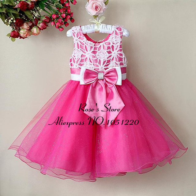 1pcs Retail New Year Princess Dress Hot Pink Color S Fl Infant Party Baby Clothes Lf014