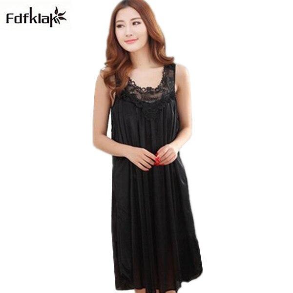 Big size women   nightgowns   short-sleeved long silk sleepwear dress summer casual   sleepshirts     nightgown   female nightdress Q956