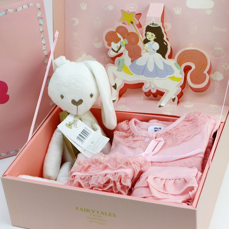 2017New Baby Clothes Set Hat Rabbit Doll Comfort Plush Toy Red Pink Newborn Infant Princess Birthday Full Moon Gift