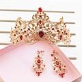 Barroco Estilo de la Hoja de Oro Rojo Verde Crystal Tiara De La Boda Nupcial Del Pendiente de La Corona Del Desfile de la Reina Princesa Crown Accesorios Para El Cabello