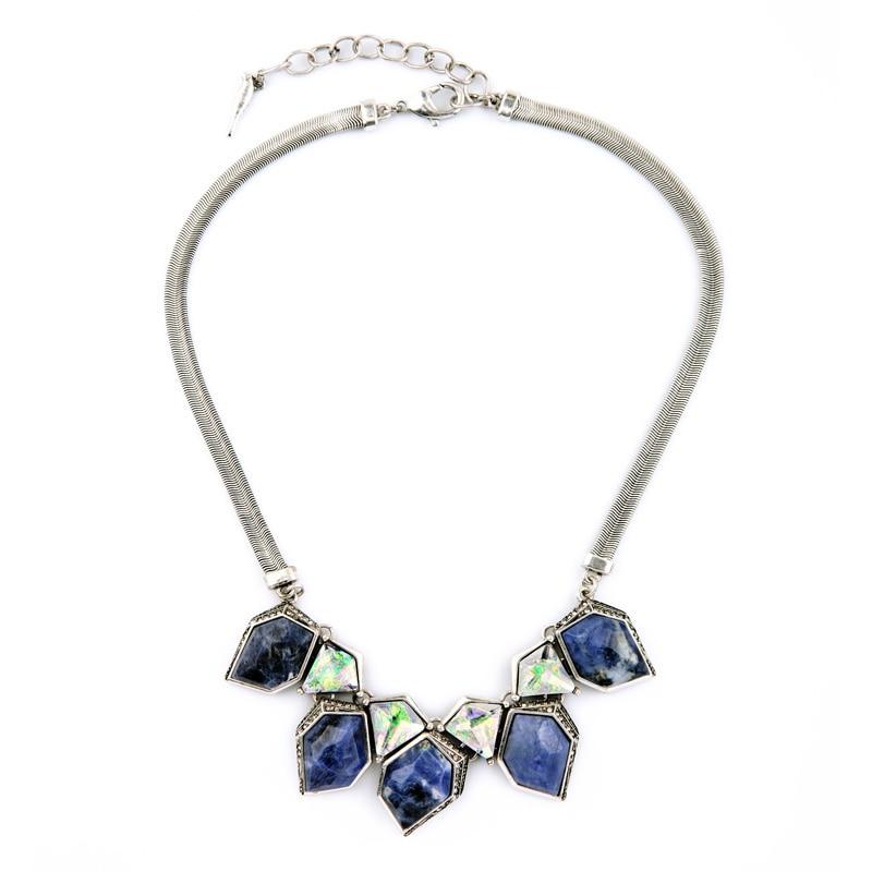Fashion Women Silver Chain Geometric Stone Retro Necklace Purple Noble Collar Necklace Jewelry