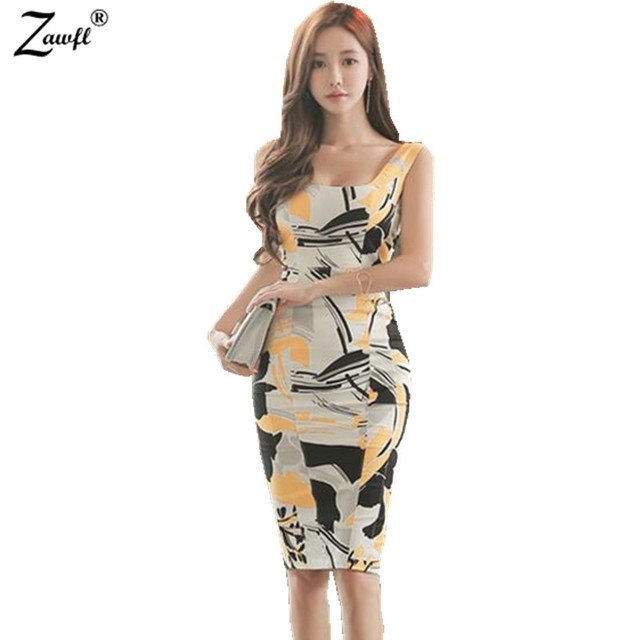 Zawfl New Summer Dresses Womens Y Cut Out Elegant Ol Office Vintage Print Sleeveless Casual Party