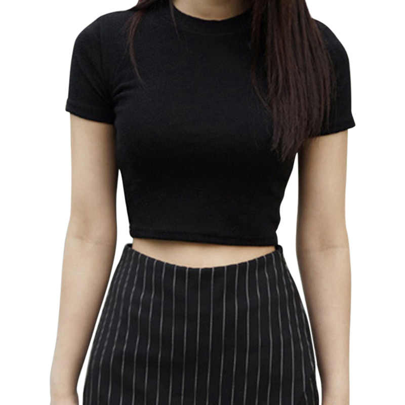 Nieuwe Vrouwen Zomer T-shirts Korte Mouwen Ronde Hals Effen Kleur Katoen Slim Fit Ropa Casual Trui Sexy Tops Koreaanse Kleding
