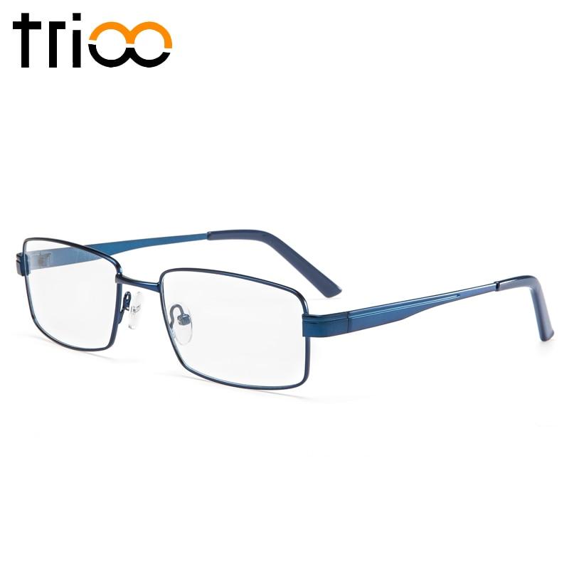 Image 2 - TRIOO Metal Blue Reading Prescription Mens Glasses Graduate Computer Myopia Degree Eye Glasses Square Astigmatism Spectacles-in Men's Prescription Glasses from Apparel Accessories