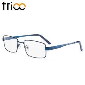 Image 2 - TRIOO Metal Blue Reading Prescription Mens Glasses Graduate Computer Myopia Degree Eye Glasses Square Astigmatism Spectacles
