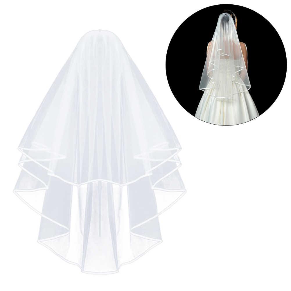 2019 פשוט וelegent חתונה צעיף כלה טול עם מסרק ותחרה סרט קצה לבן שנהב