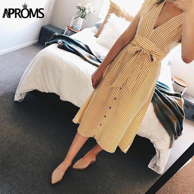 Aproms винтажное Полосатое платье миди с принтом женское элегантное глубокий v-образный Вырез Пояс завязывается платья женские летние уличные сарафаны 2019