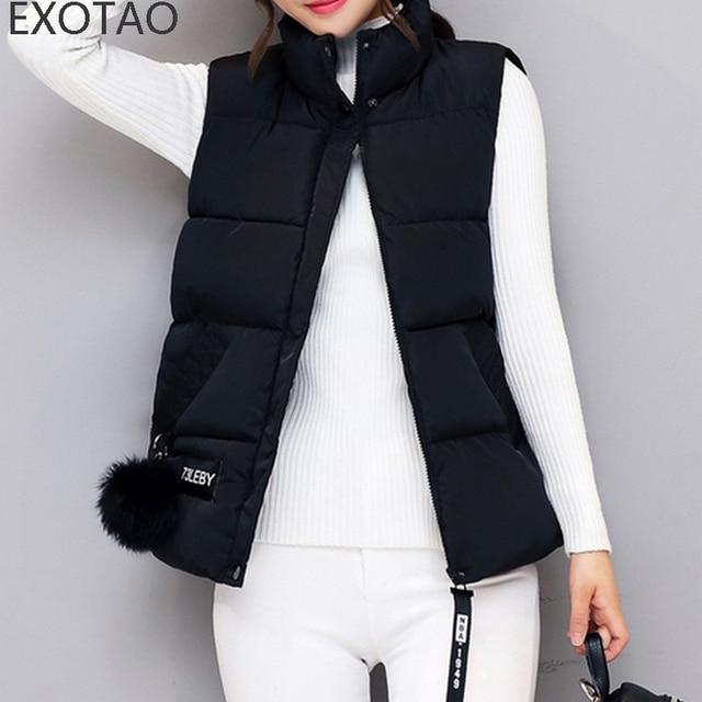 7966735c2c7392 EXOTAO Elegante Schwarze Weste Frauen Mode Kurz Design Rollkragen Colete  Feminino Damen Reißverschluss Gepolsterte Baumwolle Weste