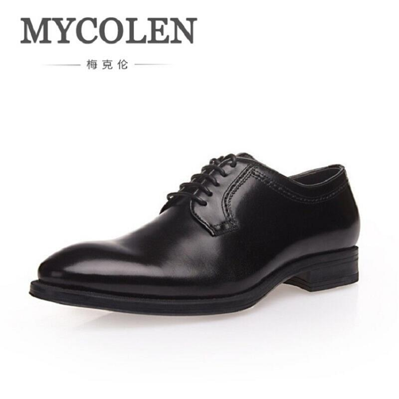 MYCOLEN New Fashion Men Wedding Dress Shoes Pointed toe Business Black Shoes British Lace-up Comfortable Men's Shoes new arrival pointed toe men wedding shoes men s lace up breathable business casual shoes fashion man hairstylist shoes size38 44