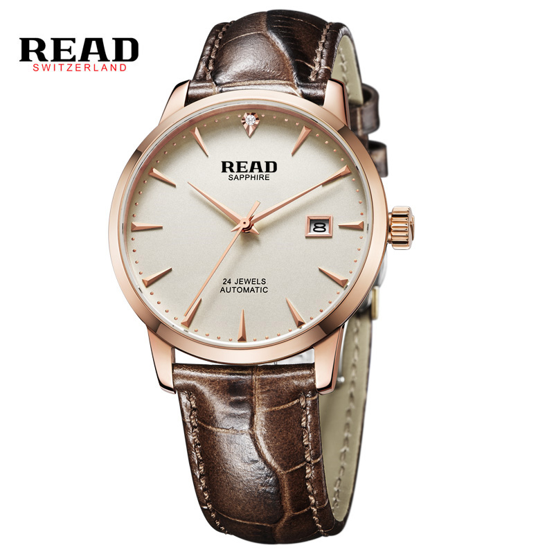 READ 2017 Skeleton Hollow Fashion Mechanical Automatic Men Luxury Male Business Leather Strap Wrist Watch CLASSIC GOLD PR177 цена и фото