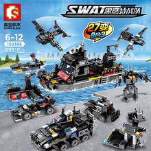 8pcs/lot SWAT City Police Truck Building Blocks Sets Ship Helicopter Vehicle Creator Bricks Playmobil Toys for Children 8in1 swat city police truck building blocks sets ship helicopter vehicle creator bricks playmobil compatible with toys