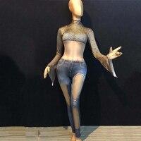 Fashion Women Dance Costume Slim Elastic DJ Bodysuit Imitation Jeans Jumpsuit DS Gogo Singers Stage Performance Clothes DC1409