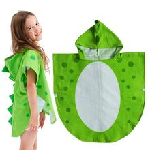 Children Bath Towel Robe Kids Hooded Beach Swimming Poncho Pool Coverup Cape Dinosaur Pattern Extra Soft