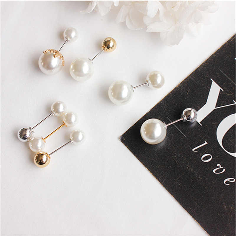 Fashion 1 Piece Woman/Girl Imitation Pearl Brooch Classic Charm High Quality Accessories Simple Double Pearls Brooches All-match