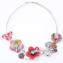 Bonsny Spring style gecko New 2016 iron flower necklace fashion necklace & pendant for girls woman lovely chain necklace(China)