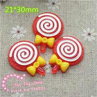 Cabujón de caramelo rojo piruleta plana kawaii para decoración 21*30mm 50 unids/lote