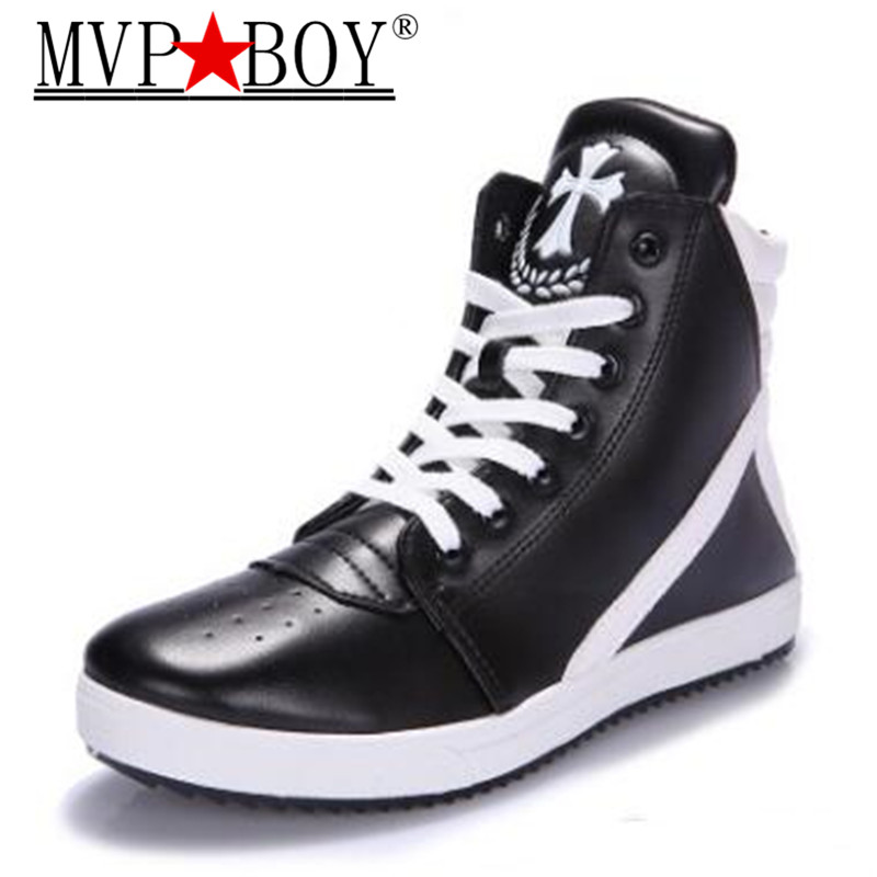цена MVP BOY Low Heel Pointed Toe PU Leather Side Zip Autumn New Fashion Mens high tops Shoes Vintage Buckle Martin boots 39-44